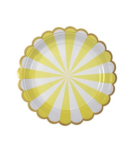 Meri Meri, małe talerzyki Paski żółte