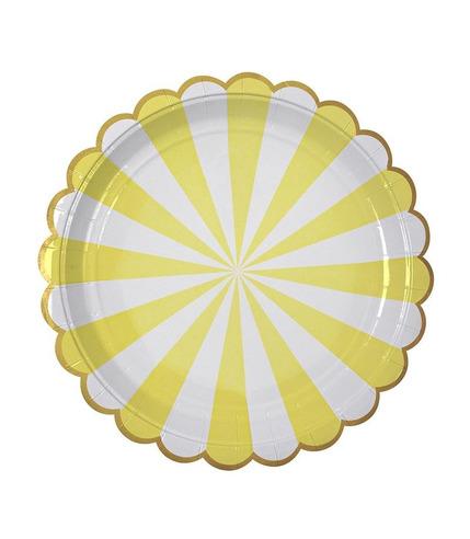 Meri Meri, duże talerzyki Paski żółte