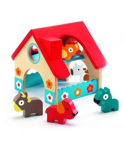 Drewniany domek ze zwierzętami Djeco
