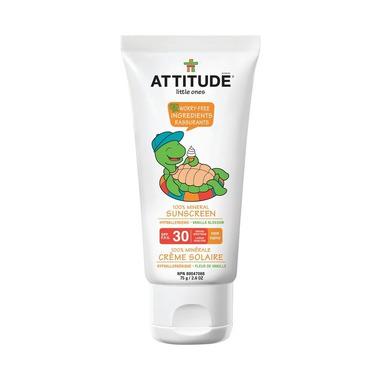 Attitude, Krem do opalania dla dzieci 100% mineralny waniliowy (Vanilla Blossom) SPF 30 75ml